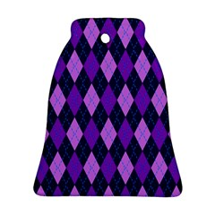 Tumblr Static Argyle Pattern Blue Purple Bell Ornament (2 Sides)
