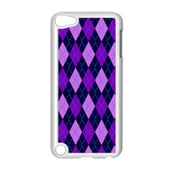 Tumblr Static Argyle Pattern Blue Purple Apple Ipod Touch 5 Case (white) by AnjaniArt