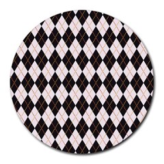 Tumblr Static Argyle Pattern Gray Brown Round Mousepads by AnjaniArt