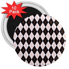 Tumblr Static Argyle Pattern Gray Brown 3  Magnets (10 Pack)  by AnjaniArt