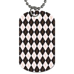 Tumblr Static Argyle Pattern Gray Brown Dog Tag (two Sides)