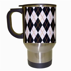 Tumblr Static Argyle Pattern Gray Brown Travel Mugs (white) by AnjaniArt