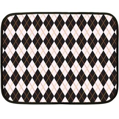 Tumblr Static Argyle Pattern Gray Brown Double Sided Fleece Blanket (mini)