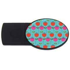 Tulips Floral Flower Usb Flash Drive Oval (2 Gb)