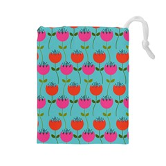 Tulips Floral Flower Drawstring Pouches (large)