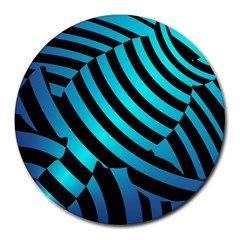 Turtle Swimming Black Blue Sea Round Mousepads by AnjaniArt