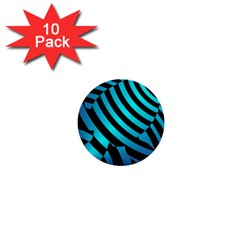 Turtle Swimming Black Blue Sea 1  Mini Buttons (10 Pack)  by AnjaniArt