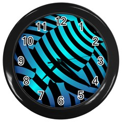 Turtle Swimming Black Blue Sea Wall Clocks (black) by AnjaniArt