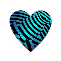 Turtle Swimming Black Blue Sea Heart Magnet