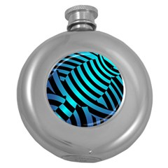 Turtle Swimming Black Blue Sea Round Hip Flask (5 Oz) by AnjaniArt