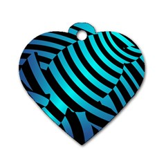 Turtle Swimming Black Blue Sea Dog Tag Heart (one Side)