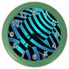 Turtle Swimming Black Blue Sea Color Wall Clocks by AnjaniArt