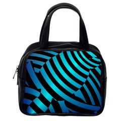 Turtle Swimming Black Blue Sea Classic Handbags (one Side) by AnjaniArt