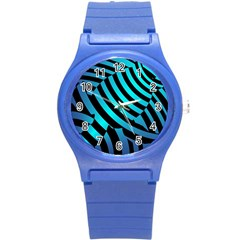 Turtle Swimming Black Blue Sea Round Plastic Sport Watch (s) by AnjaniArt