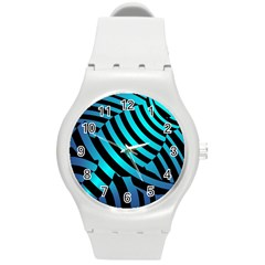 Turtle Swimming Black Blue Sea Round Plastic Sport Watch (m) by AnjaniArt