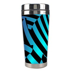 Turtle Swimming Black Blue Sea Stainless Steel Travel Tumblers by AnjaniArt