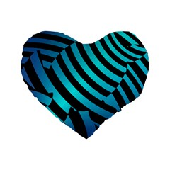 Turtle Swimming Black Blue Sea Standard 16  Premium Flano Heart Shape Cushions by AnjaniArt