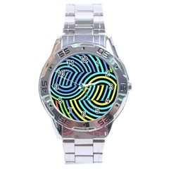 Twin Tunnels Visual Illusion Casino Art Stainless Steel Analogue Watch
