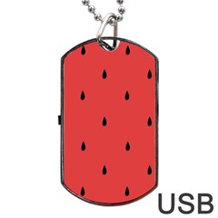 Watermelon Seeds Red Dog Tag Usb Flash (two Sides)  by AnjaniArt