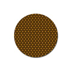 Webbing Woven Bamboo Orange Yellow Magnet 3  (round) by AnjaniArt
