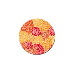 Vintage Floral Flower Red Orange Yellow Golf Ball Marker (4 Pack) by AnjaniArt
