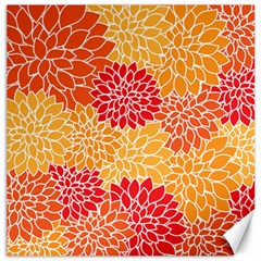 Vintage Floral Flower Red Orange Yellow Canvas 12  X 12