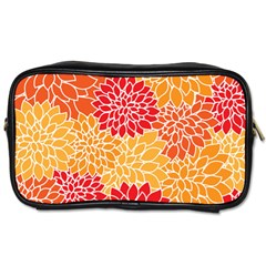 Vintage Floral Flower Red Orange Yellow Toiletries Bags 2 Side by AnjaniArt