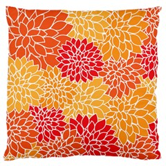 Vintage Floral Flower Red Orange Yellow Large Cushion Case (one Side)