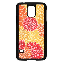 Vintage Floral Flower Red Orange Yellow Samsung Galaxy S5 Case (black) by AnjaniArt