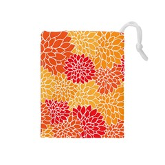Vintage Floral Flower Red Orange Yellow Drawstring Pouches (medium)  by AnjaniArt