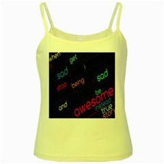 Words Jpeg Yellow Spaghetti Tank