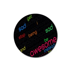 Words Jpeg Rubber Coaster (round)  by AnjaniArt