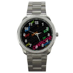 Words Jpeg Sport Metal Watch
