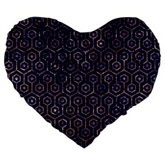 Hexagon1 Black Marble & Purple Marble Large 19  Premium Flano Heart Shape Cushion by trendistuff