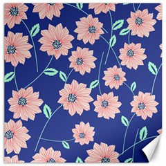 Seamless Blue Floral Canvas 16  X 16   by AnjaniArt