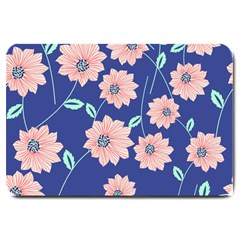 Seamless Blue Floral Large Doormat