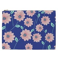 Seamless Blue Floral Cosmetic Bag (xxl)