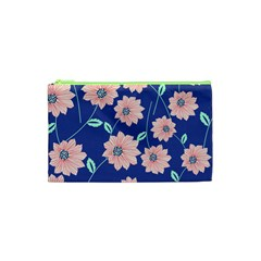 Seamless Blue Floral Cosmetic Bag (xs) by AnjaniArt