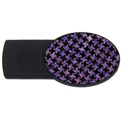 Houndstooth2 Black Marble & Purple Marble Usb Flash Drive Oval (4 Gb) by trendistuff