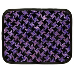 Houndstooth2 Black Marble & Purple Marble Netbook Case (xl) by trendistuff