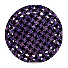 Houndstooth2 Black Marble & Purple Marble Ornament (round Filigree) by trendistuff