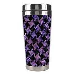 Houndstooth2 Black Marble & Purple Marble Stainless Steel Travel Tumbler by trendistuff