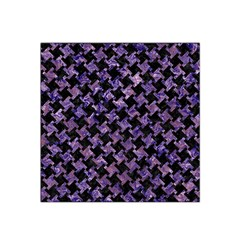 Houndstooth2 Black Marble & Purple Marble Satin Bandana Scarf by trendistuff