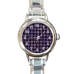 Houndstooth1 Black Marble & Purple Marble Round Italian Charm Watch by trendistuff