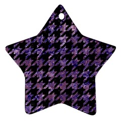 Houndstooth1 Black Marble & Purple Marble Ornament (star) by trendistuff