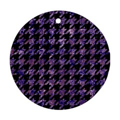 Houndstooth1 Black Marble & Purple Marble Round Ornament (two Sides) by trendistuff