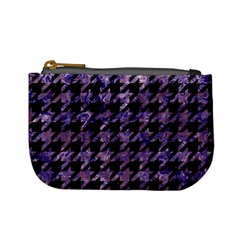 Houndstooth1 Black Marble & Purple Marble Mini Coin Purse