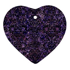 Damask2 Black Marble & Purple Marble (r) Heart Ornament (two Sides) by trendistuff