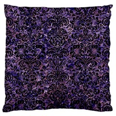 Damask2 Black Marble & Purple Marble (r) Large Flano Cushion Case (two Sides) by trendistuff