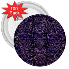 Damask2 Black Marble & Purple Marble 3  Button (100 Pack) by trendistuff